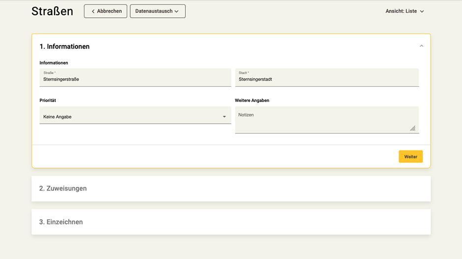 Screenshot App-Zentrale Straßen-Rubrik