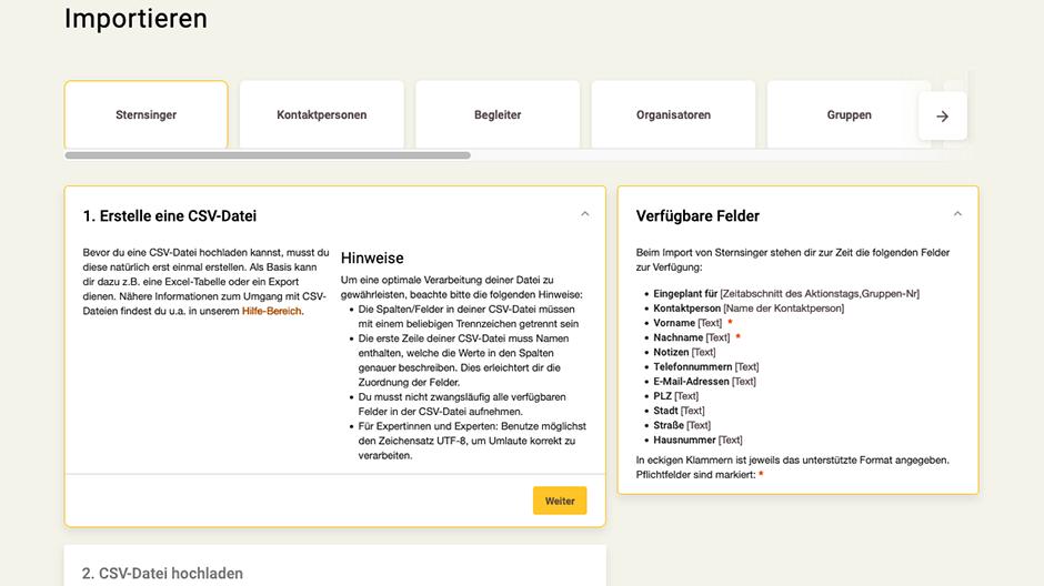 Screenshot App-Zentrale Daten importieren