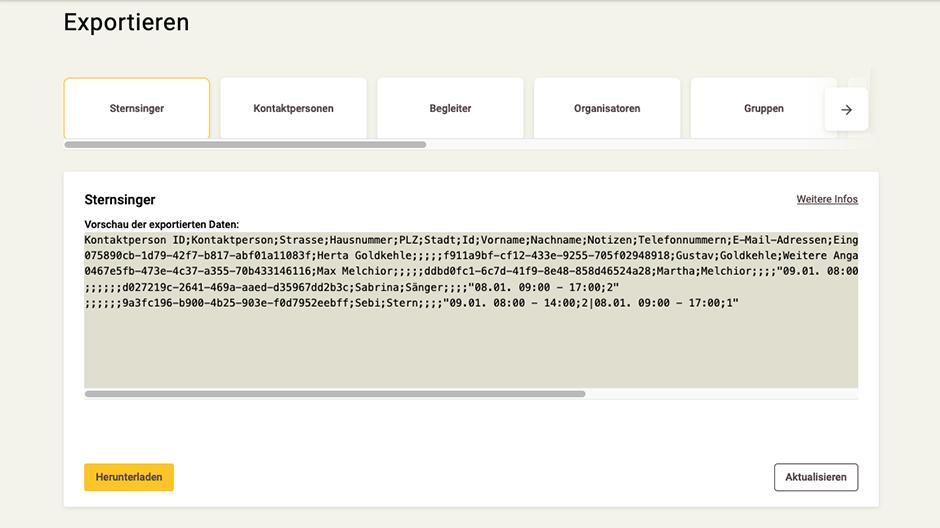 Screenshot App-Zentrale Daten exportieren