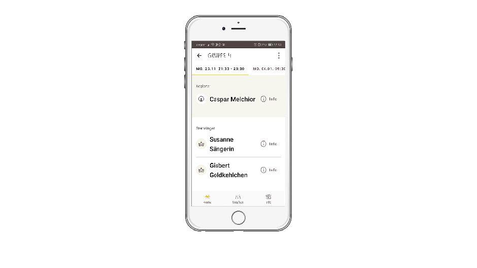 Screenshot mobile App Gruppenansicht