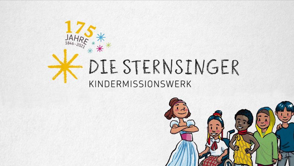 Illustration von Auguste zusammen mit Kindern aus Sternsinger-Projekten