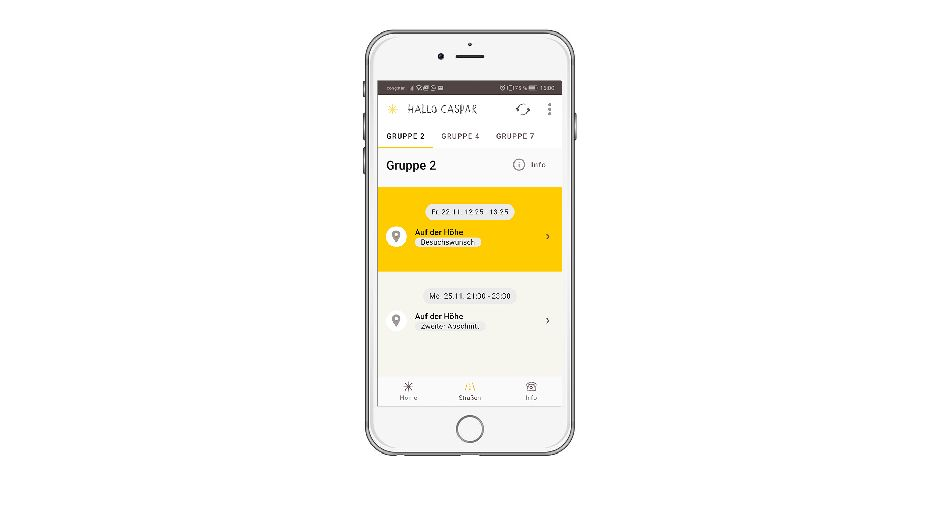 Screenshot mobile App Straßen-Ansicht