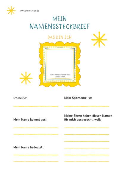 Steckbrief Praktikum Kindergarten Vorlage