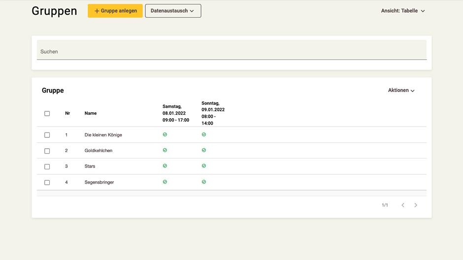 Screenshot App-Zentrale Gruppen-Rubrik