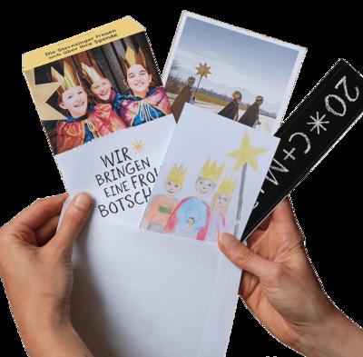 Segensbrief mit Spendentüte, Flyer und Segensaufkleber