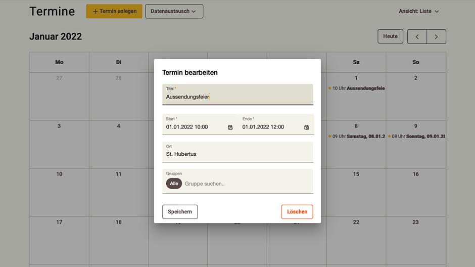 Screenshot App-Zentrale Kalender