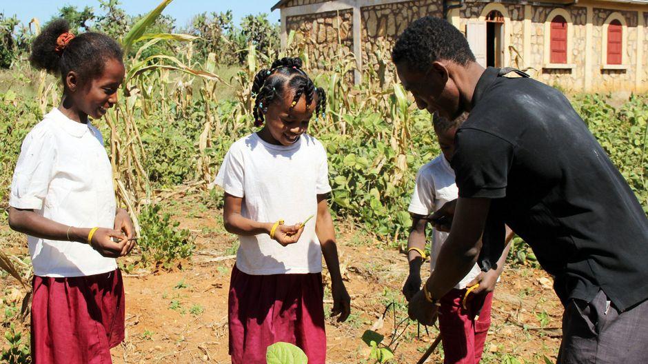 Drei Kinder bekommen wichtige Dinge über den Anbau von Pflanzen gezeigt.