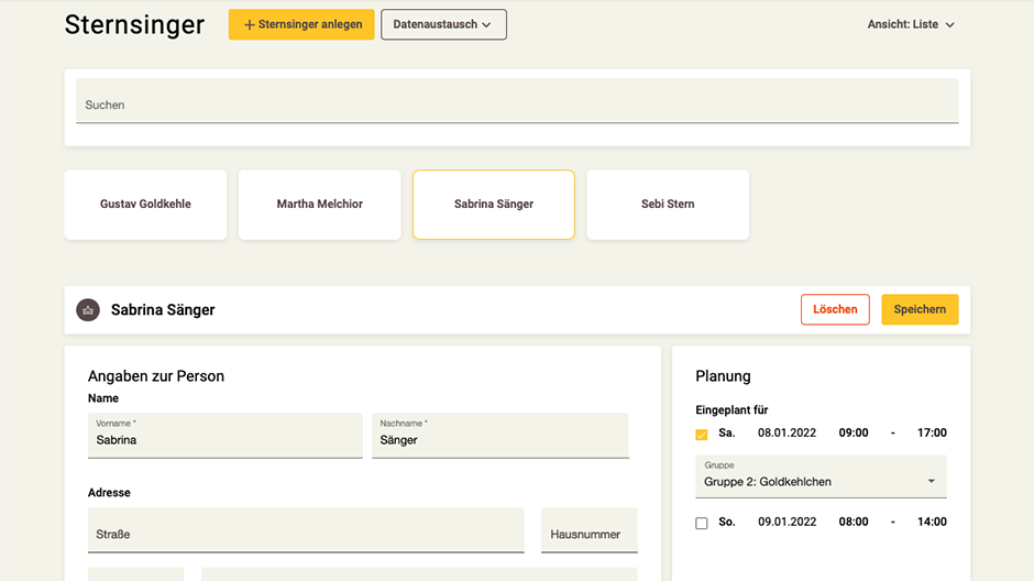 Screenshot App-Zentrale Personen-Rubrik